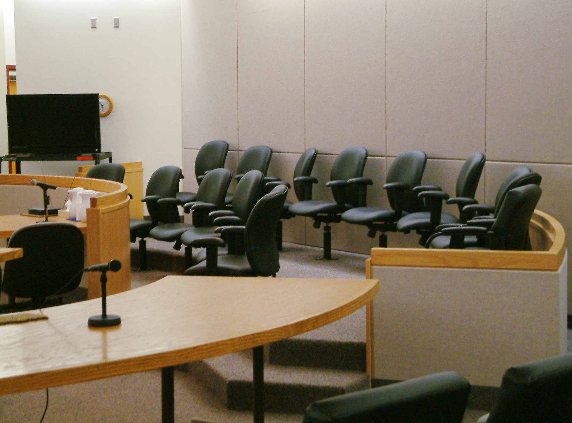 View of the jury box in one of the courtrooms in the Dimond Courthouse in Juneau. (Photo by Matt Miller, KTOO - Juneau)