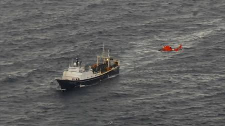 U.S. Coast Guard Cutter Boutwell conducts a medevac in 2013. (Photo courtesy of U.S. Coast Guard)