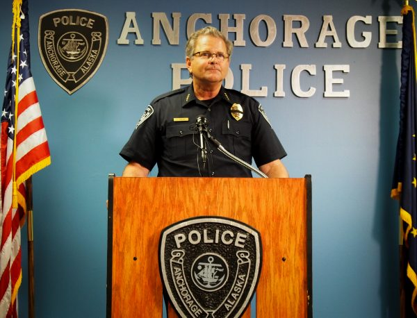 Anchorage Police Chief Chris Tolley addresses reporters during a brief press conference following the incident (Photo: Zachariah Hughes - Alaska Public Media, Anchorage)