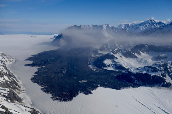 Haines pilot Paul Swanstrom spotted this massive landslide on the Lamplugh Glacier near Glacier Bay on June 28, 2016. (Photo courtesy Paul Swanstrom)
