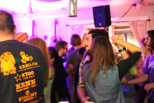 A lively crowd dances at Techno Contra. (Photo by Katherine Rose, KCAW - Sitka)
