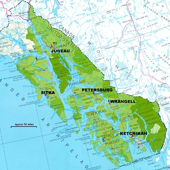 The Tongass National Forest includes most of Southeast Alaska. (Image courtesy U.S. Forest Service.)