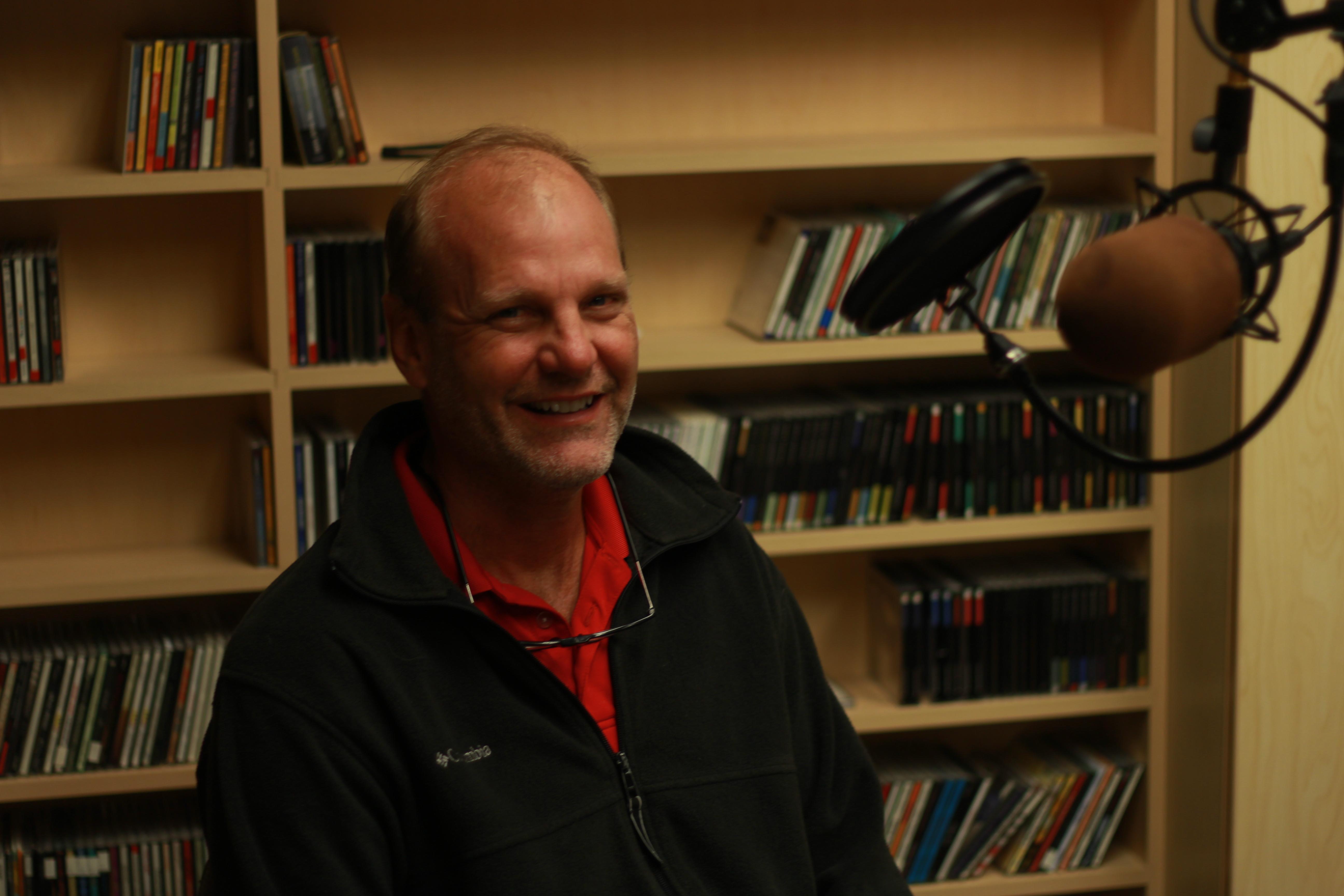 Bill Streever in studio for Talk of Alaska (Photo by Wesley Early, Alaska Public Media - Anchorage)