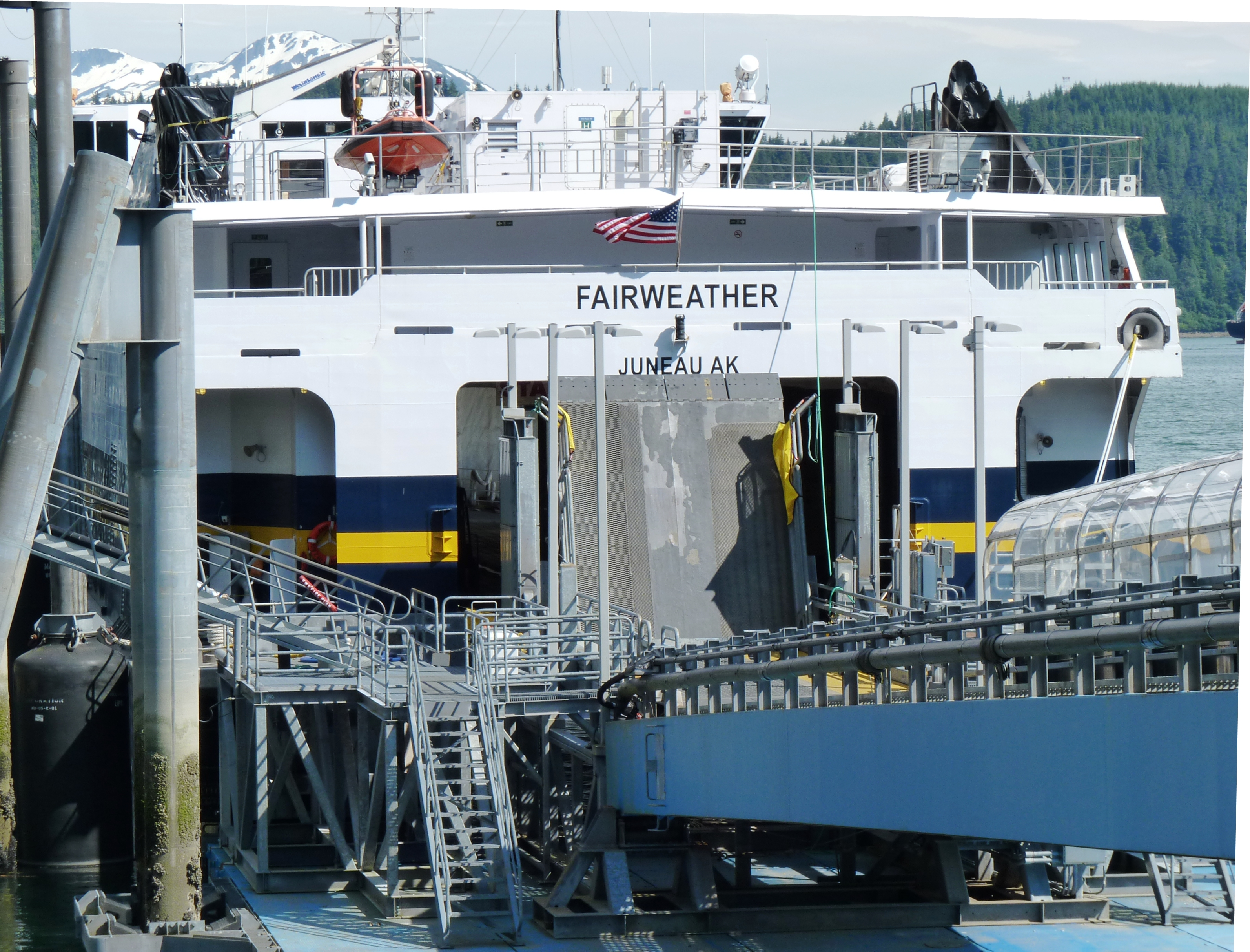 The fast ferry Fairweather docks at Juneau's Auke Bay Ferry Terminal in 2013. It's one of several ships with an uncertain future as the marine highway system's budget shrinks. (Photo by Ed Schoenfeld, CoastAlaska News - Juneau)