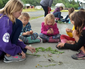 Girl Scouts study local plants in a botany work shop during a week-long camp. (Photo by Angela Denning, KFSK - Petersburg)