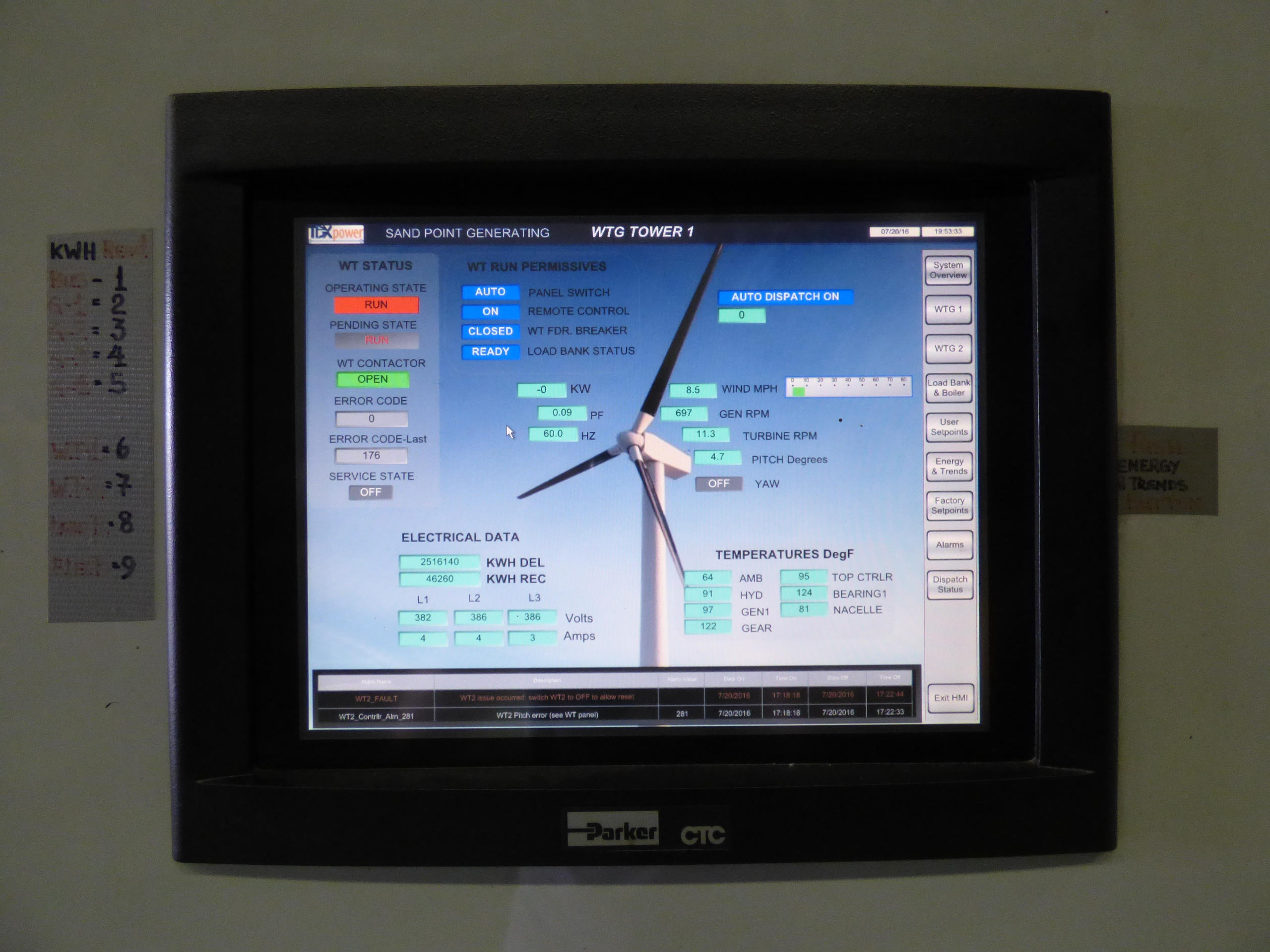 A screen showing the status of one of the wind turbines at Sand Point (Photo by Zoe Sobel, Alaska's Energy Desk - Unlaska)