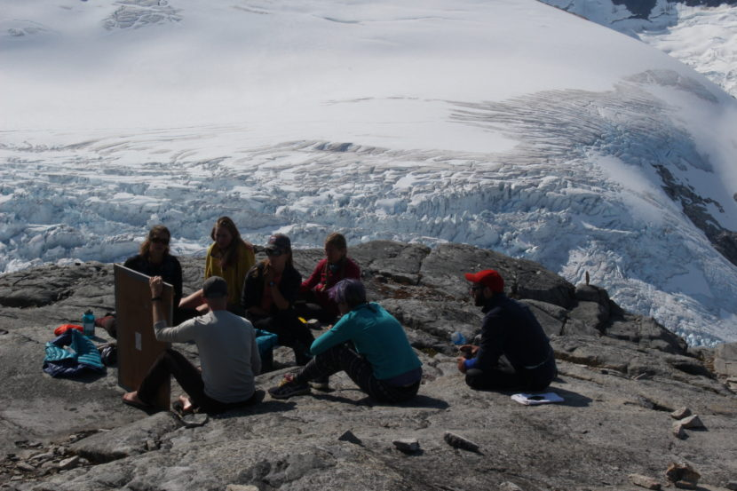 At Camp 18, when the weather permits, the classroom is outdoors. (Photo by Elizabeth Jenkins, KTOO - Juneau)