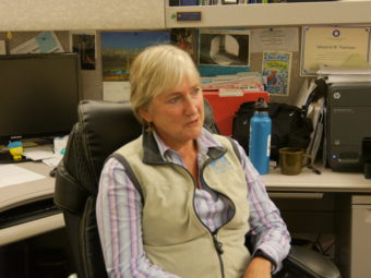 Margie Thomson in her office on Aug 8. (Photo by Quinton Chandler, KTOO - Juneau)