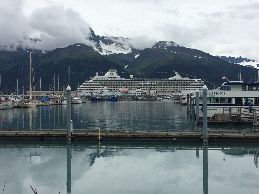 The Crystal Serenity in Seward, AK, preparing for groundbreaking cruise through the Northwest Passage (Photo by Rachel Waldholz, Alaska's Energy Desk - Anchorage)
