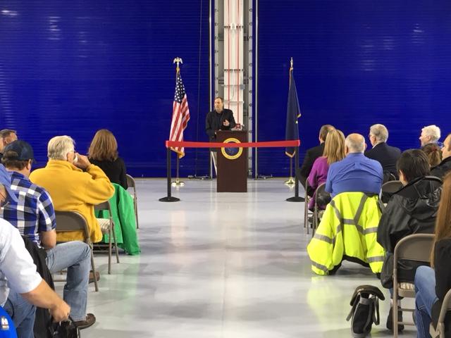 Craig Campbell speaks to public at rededication event. (Photo by Kayla Desroches, KMXT - Kodiak)