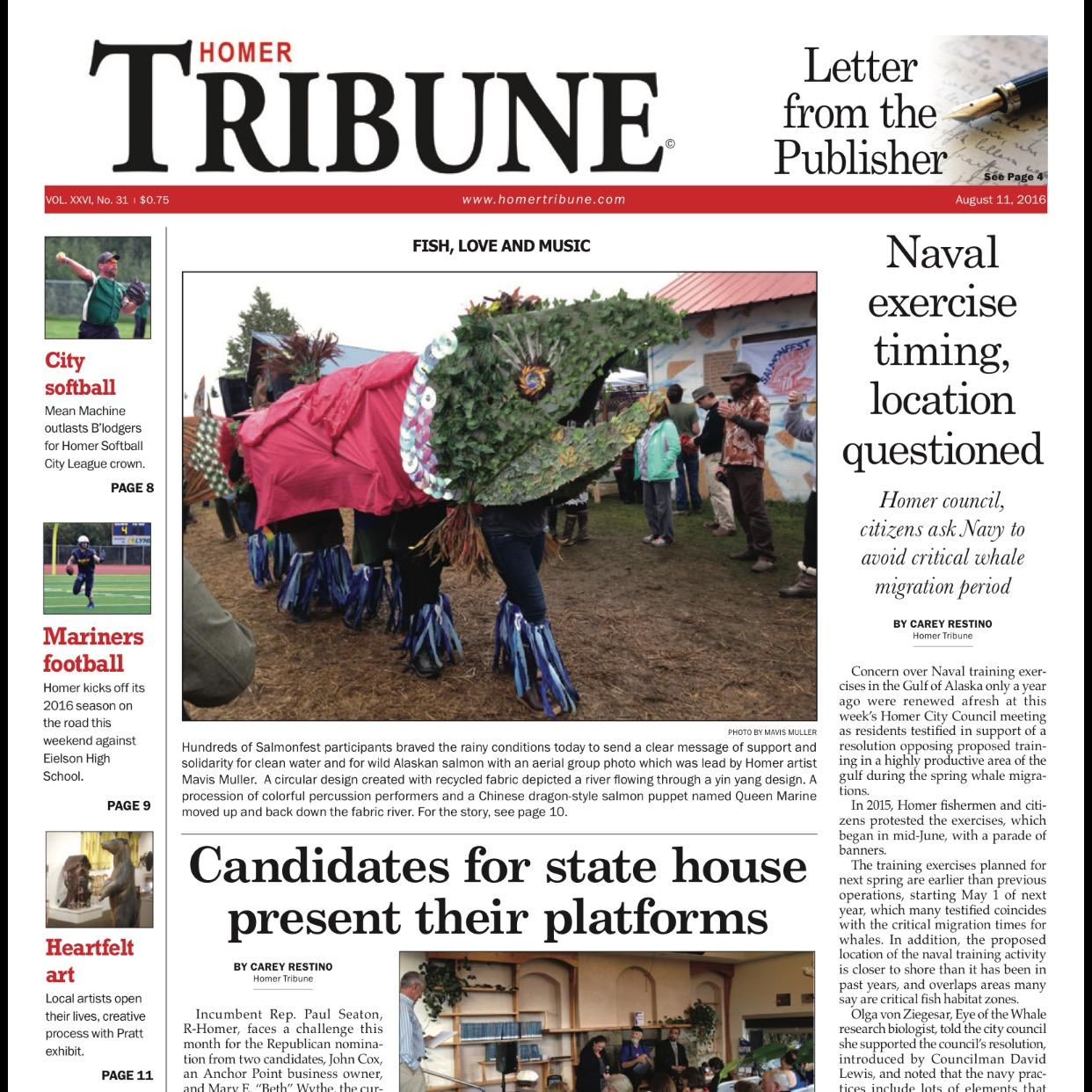 The first print issue of the Homer Tribune since June came out on June 11. (Image Courtesy of Homer Tribune)