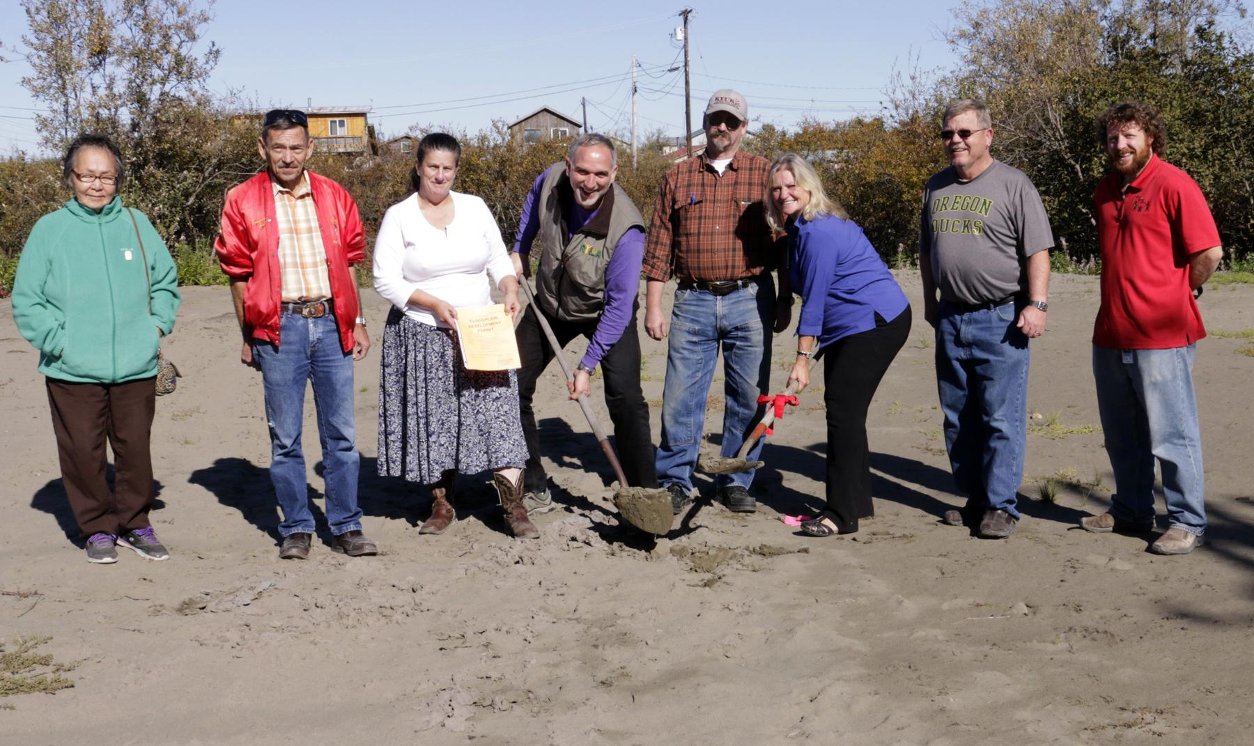 Bethel Family Clinic board members break ground at the construction site in Bethel. (Photo courtesy of Jehona Kadriu)