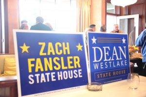 Democrats turned out to support Dean Westlake and Zach Fansler, who are challenging incumbent Reps. Bob Herron of Bethel and Bennie Nageak of Barrow. Photo: Rachel Waldholz/Alaska's Energy Desk