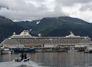 The Crystal Serenity is the largest passenger ship to traverse the Northwest Passage, traveling from Seward to New York City. Photo: Rachel Waldholz, Alaska's Energy Desk