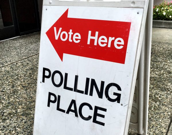 A red arrow with the text 'vote here' and black letters saying 'polling place' are posted on a white fold out sign.