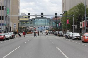 Looking east on 5th Avenue at H Street in Downtown Anchorage.