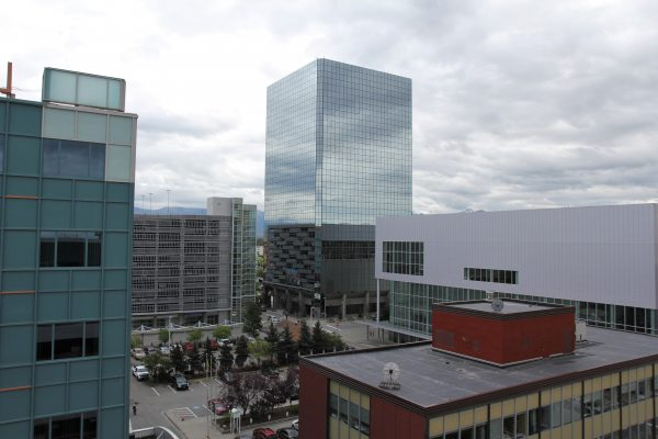 The Robert B. Atwood building and neighbors in downtown Anchorage.