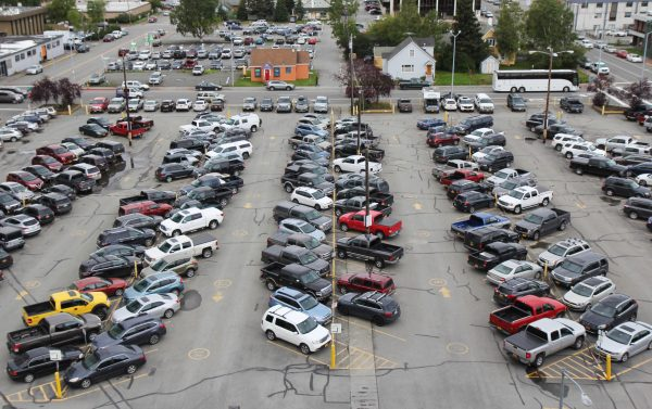 A parking lot in downtown Anchorage between 6th and 7th avenues on H Street.