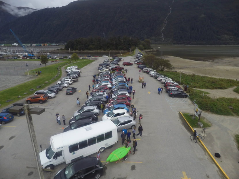 A drone shot of Juneau's electric vehicle get together. (Photo by Gabe Strong)