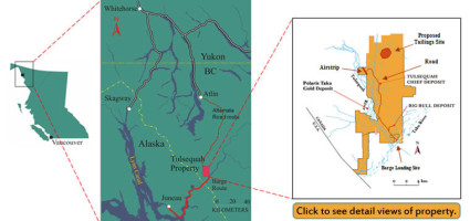 The Tulsequah Chief Mine is northeast of Juneau, just across the border in British Columbia. (Map by Chieftain Metals)