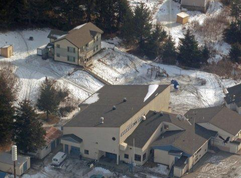 An aerial photo of Nanwalek School. (Photo Courtesy of Ron Keffer)