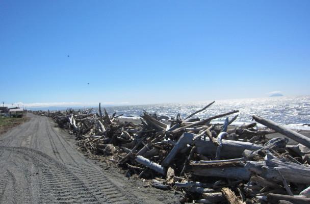 The beginning of the Shaktoolik coastal berm. (Photo Anna Rose MacArthur, KYUK - Bethel)