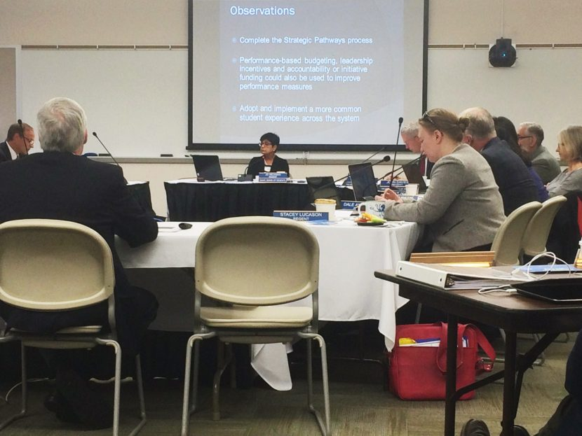 The University of Alaska Board of Regents met on Friday in Juneau. (Photo by Quinton Chandler, KTOO - Juneau)