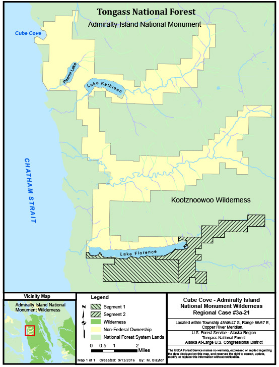 Cube Cove-area land is being sold to the Forest Service. The two southernmost parcels were purchased for about $4 million. (Map courtesy Forest Service)