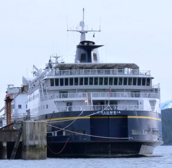 The state ferry Columbia will soon sail south for repairs to a damaged propeller. That will leave Southeast with fewer port calls. (Photo by Ed Schoenfeld/CoastAlaska News)