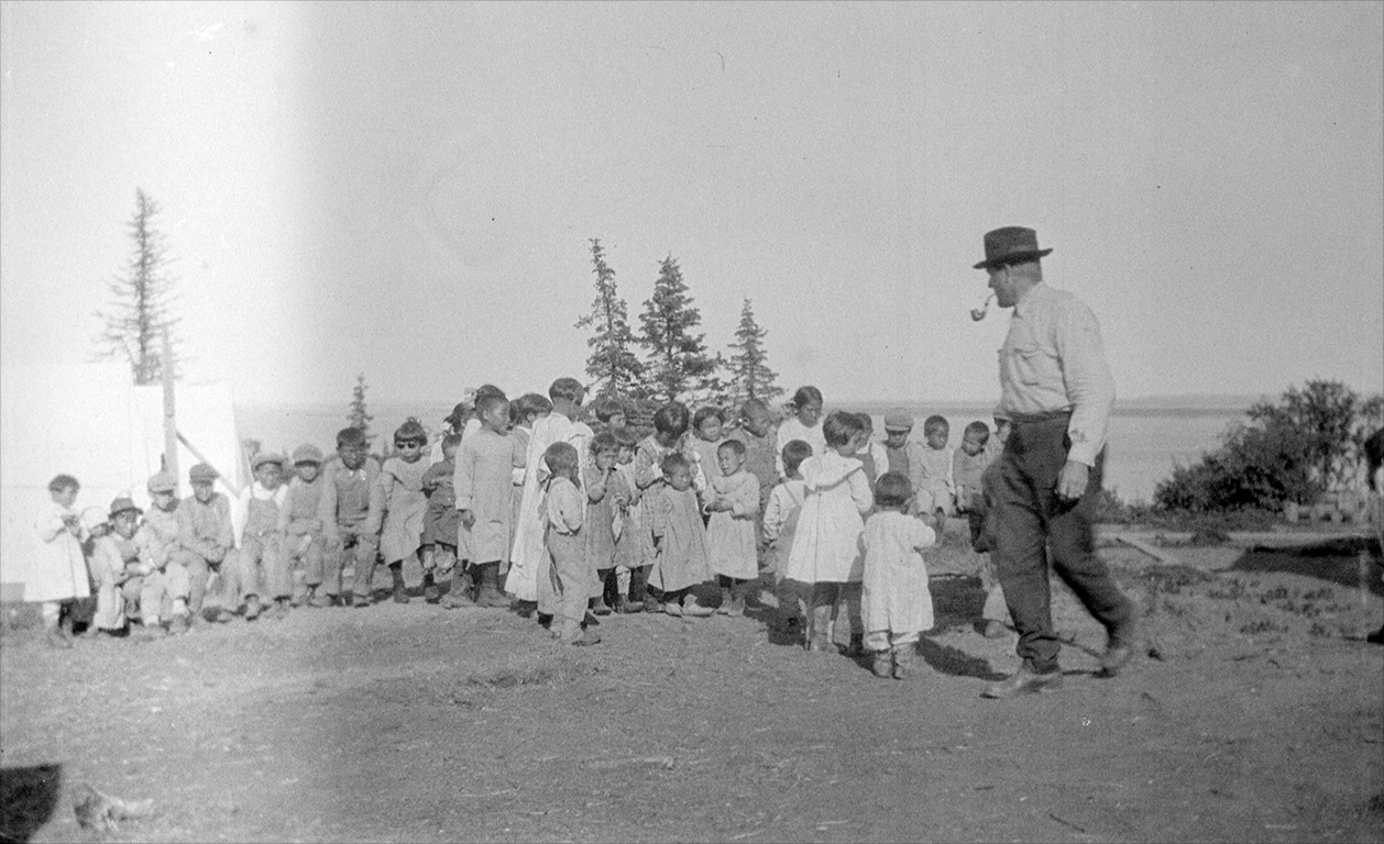 Doctor Linus Hiram French with Orphans in 1919 (Courtesy of Tim Troll)