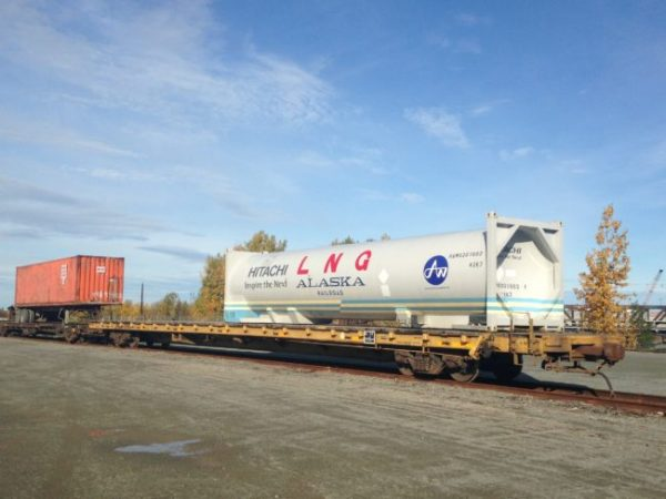 A cryogenic tank container used to carry liquefied natural gas by rail (photo by Elizabeth Harball).