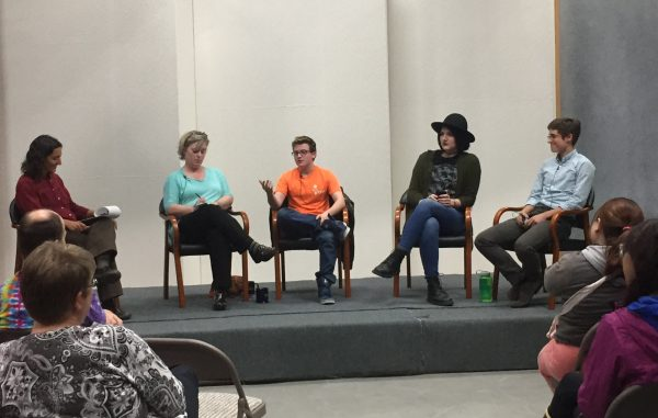 Panelists and host for Community in Unity: Being Transgender from right to left: Peek Ehlinger, Audrey Goodson, Damien Young, Cathy Gillis and Anne Hillman. (Townsend/Alaska Public Media)
