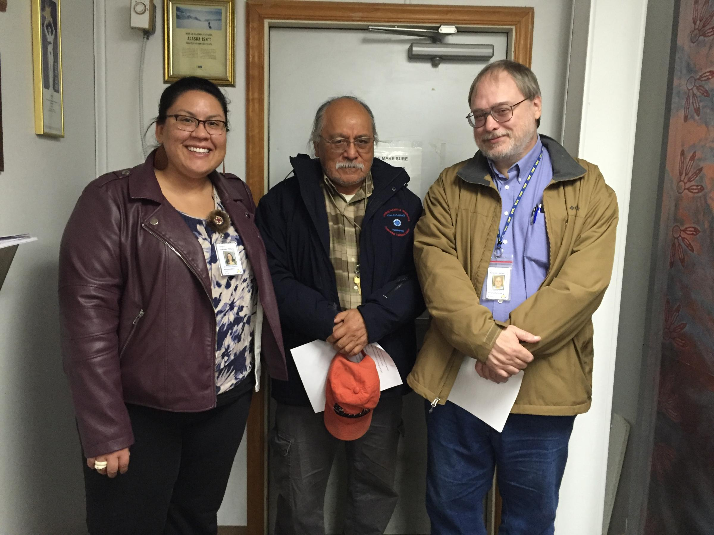 Left to right: YKHC VP of Communications Tiffany Zulkosky, Behavioral Health Administrator Ray Daw, and VP of Hospital Services Jim Sweeney. (Photo by Charles Enoch, KYUK - Bethel)