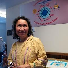 Rose Dominick at the Camai House after they acquired it for their program. (Photo by Shane Iverson, KYUK - Bethel)
