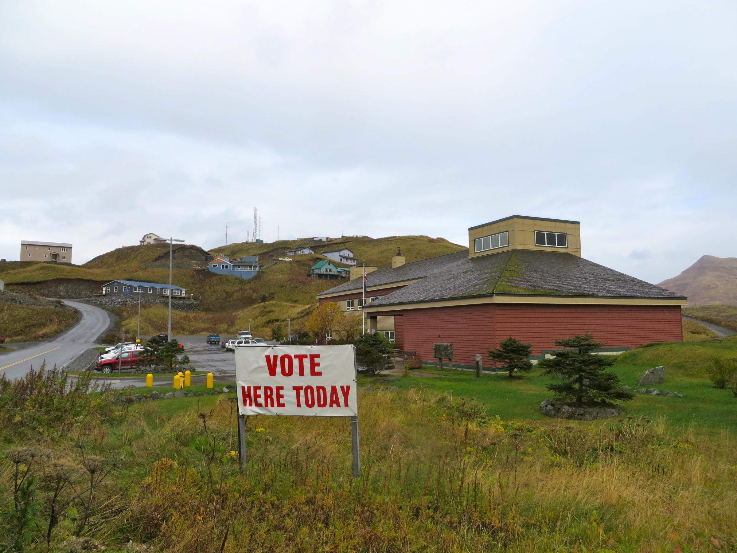Election Day at Unalaska City Hall. (Photo by Laura Kraegel, KUCB - Unalaska)