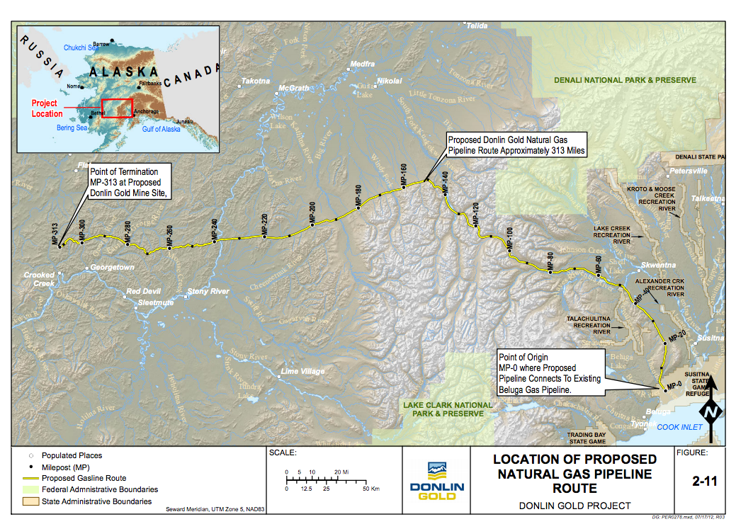 Proposed route for the Donlin Gold natural gas pipeline that would run more than 300 miles from Cook Inlet to above Crooked Creek. (Chart courtesy of USACE)