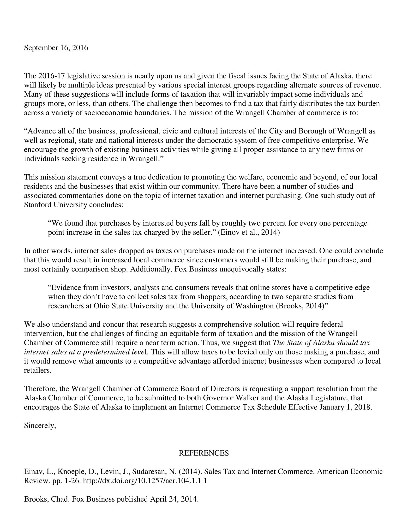 Wrangell Chamber of Commerce's letter to the Wrangell Assembly, Southeast Conference and the Alaska Chamber of Commerce.