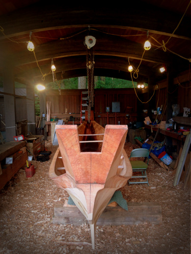 The canoe explained by more than 16 inches after the steaming. (Photo by Emily Russell, KCAW - Sitka)