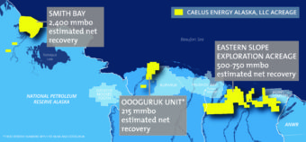 Map of areas Caelus is exploring or producing from on the North Slope. (Image courtesy of Caelus Energy)