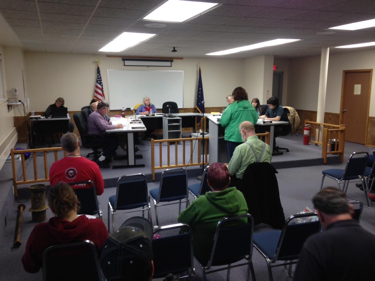 Kim Parker addressed the Dillingham city council Thursday night, asking them to lift a protest of a liquor license transfer and clear the way for a new package store on Raspberry Circle. (Photo by KDLG)