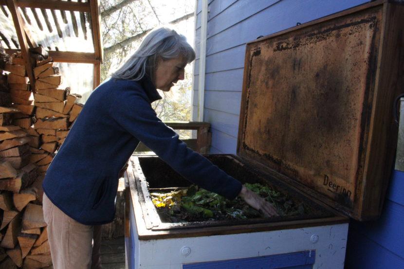 "Ann Dombkowski calls her bin the ""worm yacht."" (Photo by Elizabeth Jenkins, Alaska's Energy Desk - Juneau)"