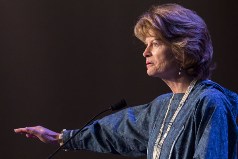 Sen. Lisa Murkowski addresses the Alaska Federation of Natives Convention, Oct. 16, 2015. (Photo by Mikko Wilson, KTOO - Juneau)