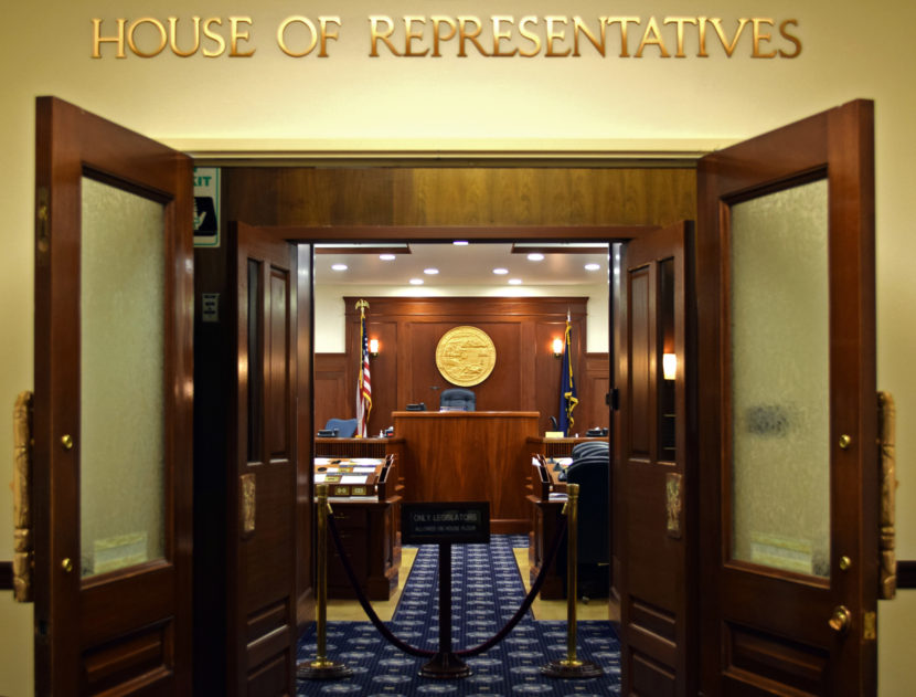 The Alaska House of Representatives entrance in the Capitol in Juneau, Feb. 6, 2015. (Photo by Skip Gray, 360 North - Juneau)