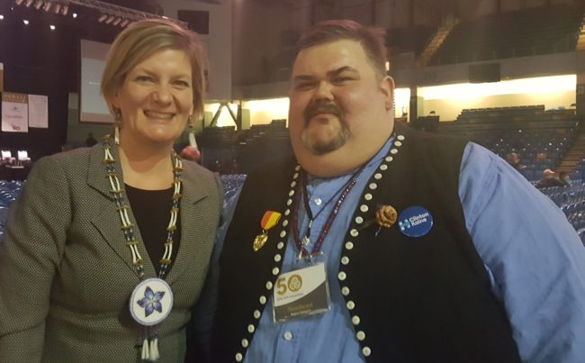 Alaska Attorney General Jahna Lindemuth and Central Council President Chalyee Éesh Richard Peterson at the 2016 Alaska Federation of Natives convention in Fairbanks. (Photo by Jennifer Canfield, KTOO - Juneau)
