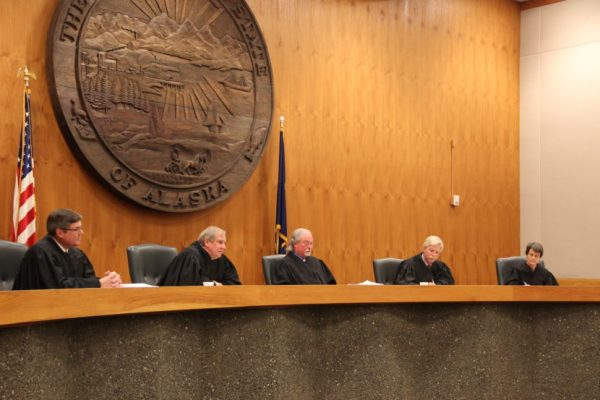 Members of the Alaska Supreme Court today reversed the lower court's decision and reinstated Dean Westlake as the winner of the Democratic primary in House District 40. (Photo by Rachel Waldholz/Alaska's Energy Desk)