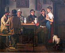 Harassment of a waitress, by Johann Michael Neder, 1833, Germanisches Nationalmuseum