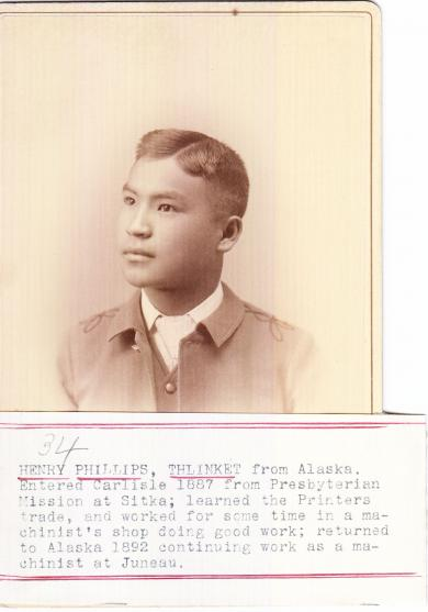 """Henry Phillips, originally """"Ka-Ka-Ish,"""" was 12 years old in 1887 when he arrived at the Carlisle Industrial Indian School in Pennsylvania. His student file says he arrived from the Presbyterian Mission in Sitka, though both of his parents were still living. He returned to Skagway to work as a printer at the Daily Alaskan newspaper. (Public Domain image from National Archives and Records Administration)"""