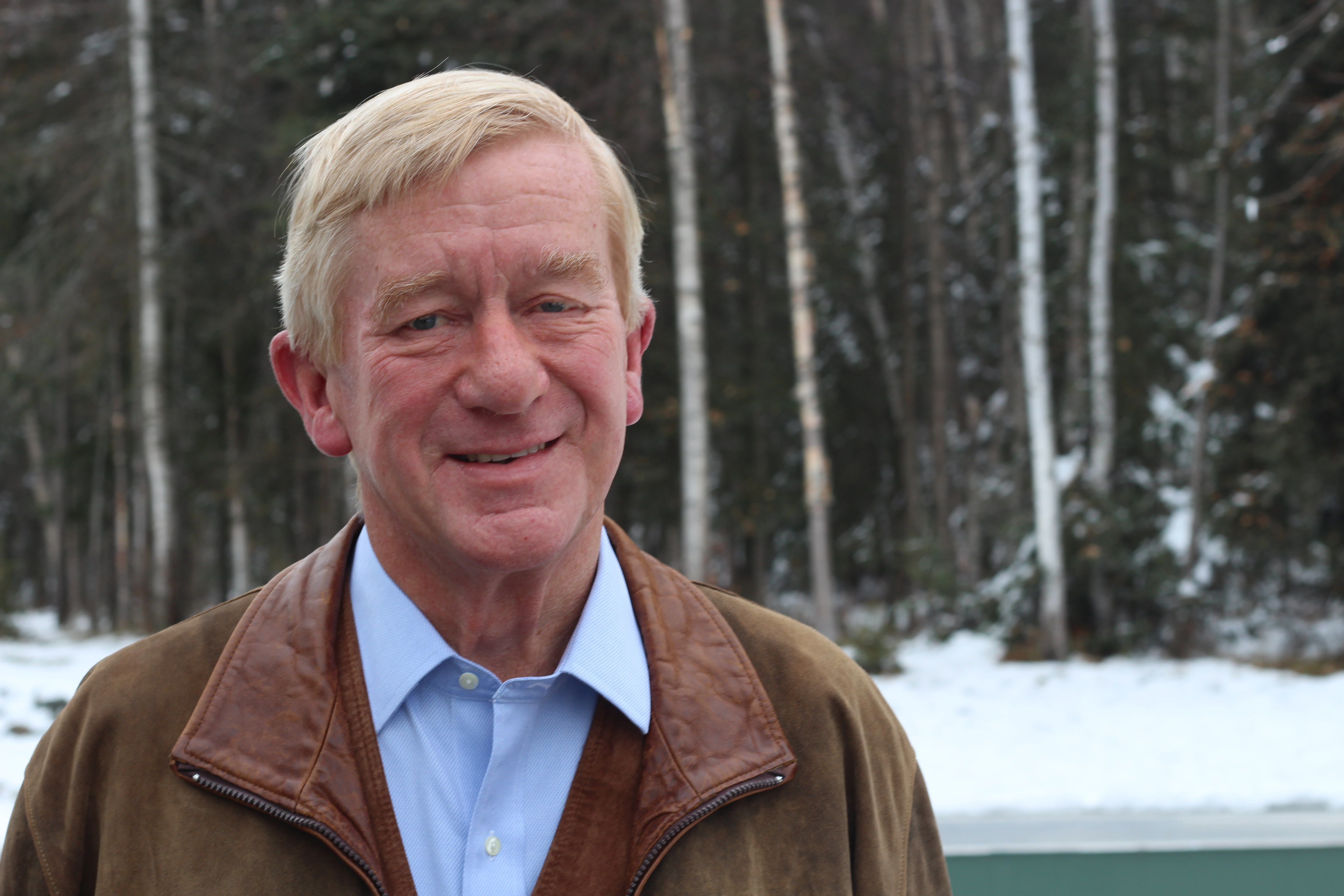 Bill Weld, former governor of Massachusetts, is the Libertarian Party's nominee for Vice President with running mate Gary Johnson. He stopped by Alaska Public Media to discuss his platform. (Photo by Wesley Early, Alaska Public Media -Anchorage)
