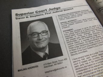 The election pamphlet contains a brief biography of each judge up for retention. (Photo by Matt Miller, KTOO - Juneau)