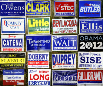 This collage of 2012 campaign yard signs for judges and other elected officials in upstate New York and western Vermont was featured in a blog hosted by North Country Public Radio. (Photo by Mark Kurtz, NCPR - New York)